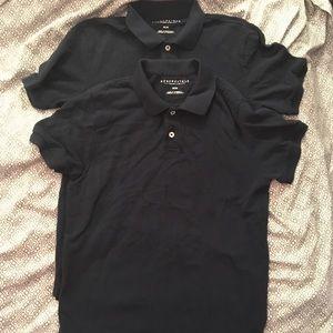 2 Aeropostale Uniform Polo Shirts NAVY Men's MED